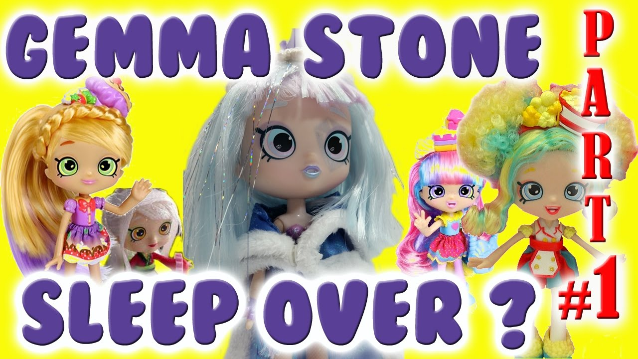 shopkin videos sleep over at gemma stone shoppies part 1 of 2 shoppie inspired by cookie swirl c youtube