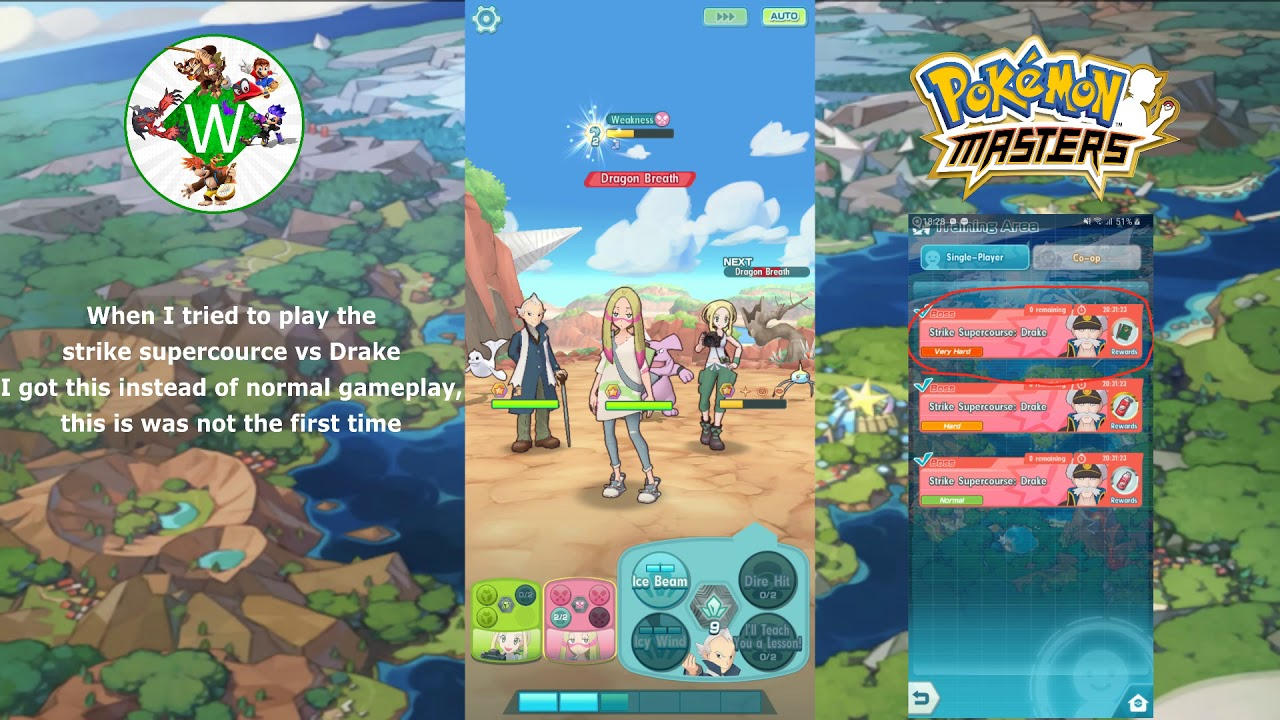 Pokemon masters still image bug, Drake super course battle