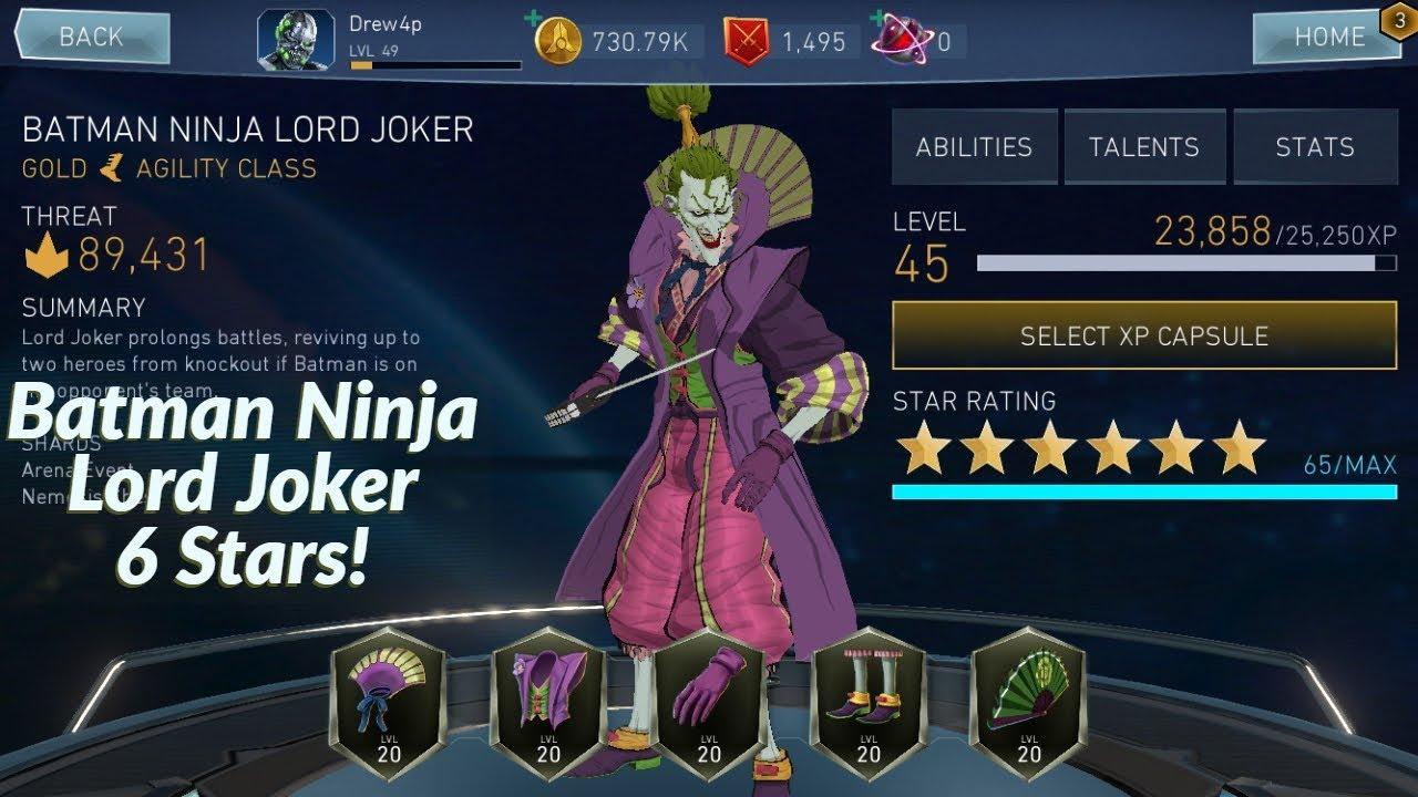 Injustice 2 Mobile Upgrading Batman Ninja Lord Joker To 6 Stars Youtube