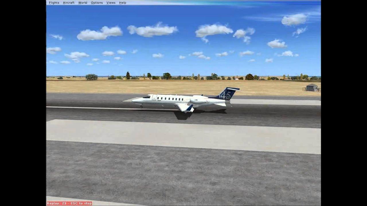 Microsoft Flight Simulator X FSX Learjet 45 Awesome Landing