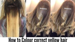 HOW TO COLOUR CORRECT YELLOW HAIR | BALAYAGE CORRECTION | NICKY LAZOU