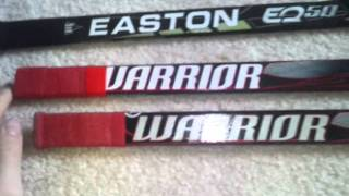 Custom Easton EQ50/Warrior Widow mini hockey sticks
