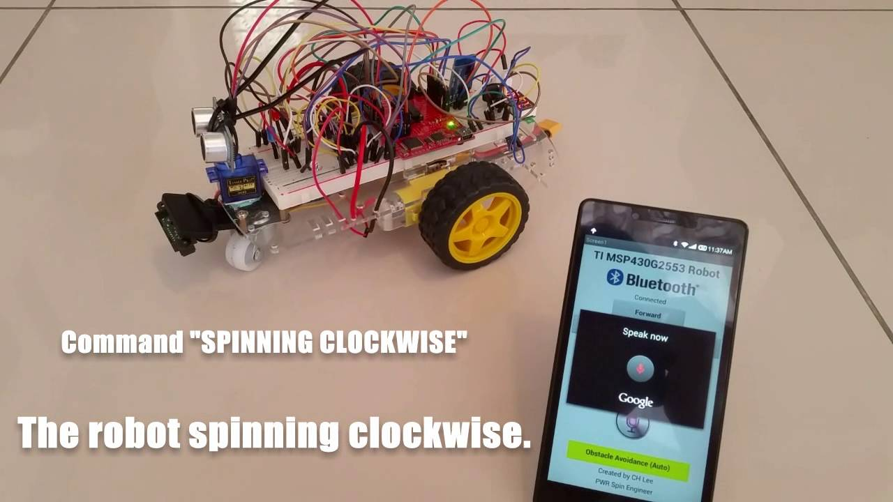Bluetooth Remote/Voice Controlled 2WD TI MSP430G2553 Robot using Smartphone  and My First Android App