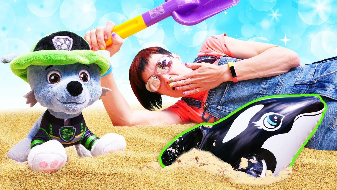 Щенячий патруль и Маша Капуки в песочнице - Спасение касатки. Видео для детей