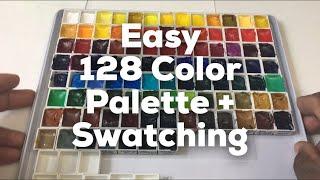 Easy 128 half pan travel/desktop MEGA PALETTE for Sennelier 98 color setup and swatching