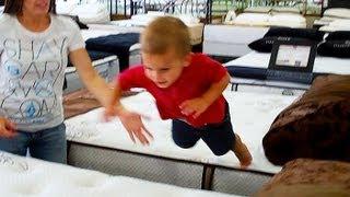 BABY TERRORIZES MATTRESS STORE!