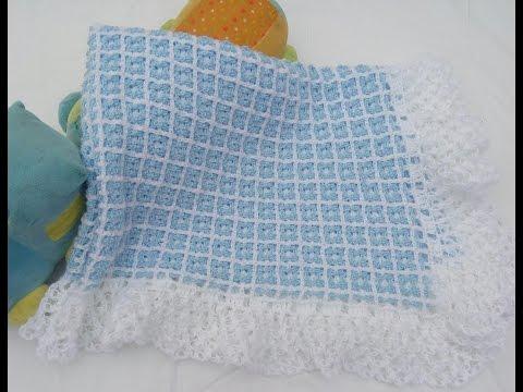 cobija o manta para bebé a crochet fácil y rápido