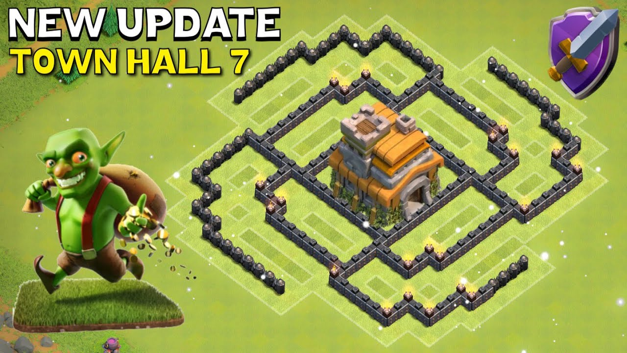 Th7 hybrid base new update town hall 7 coc spiral design clash of