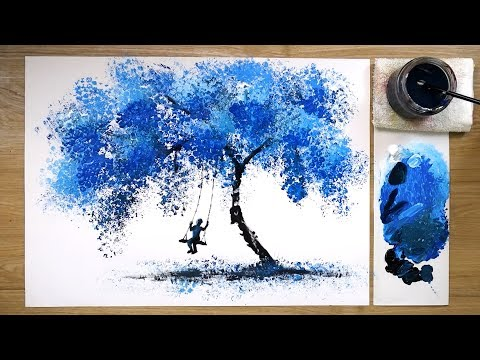 bubble wrap acrylic painting techniques for beginners blue sky
