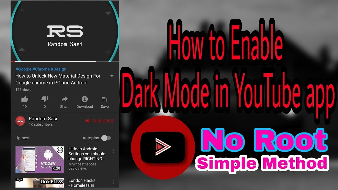 enable dark mode youtube app android