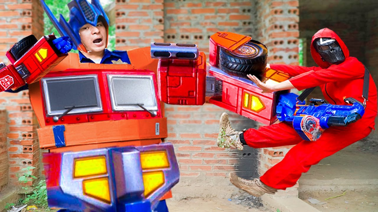 Battle Nerf War ROBOT POLICE Uncompromising fight with squid game NERF & nerf guns SQUID GAME 2021