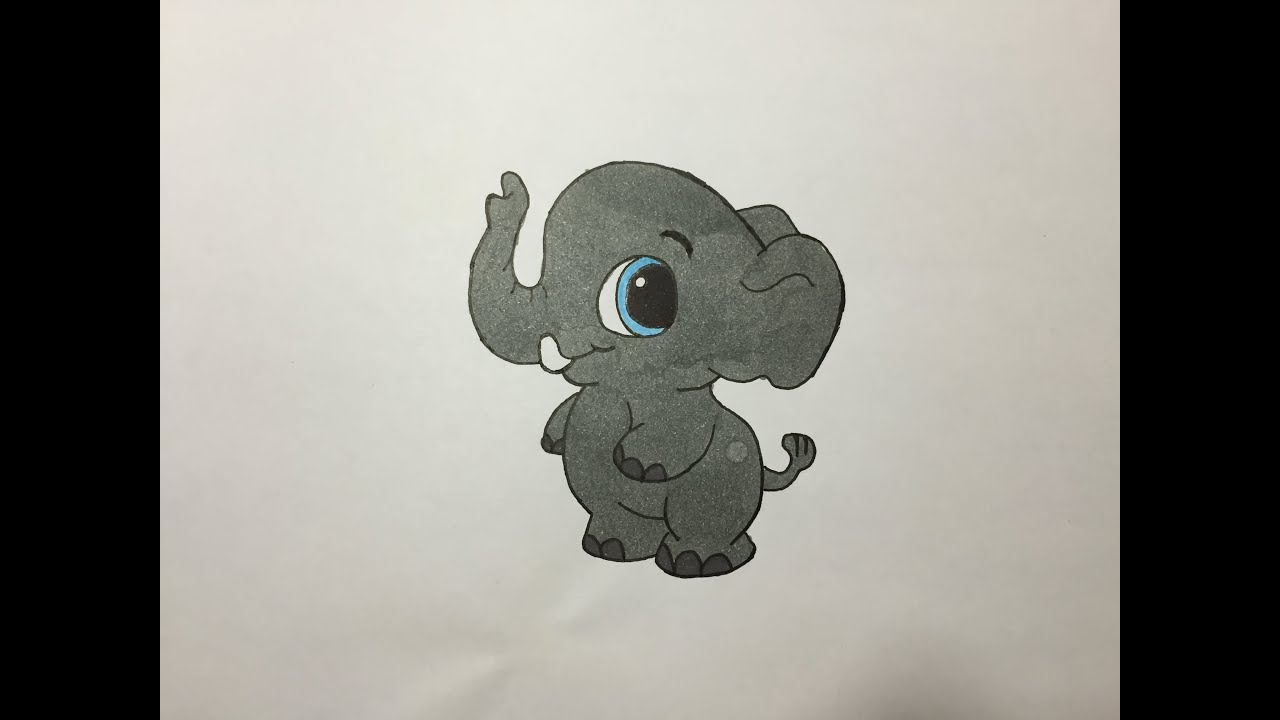 Drawing And Coloring A Baby Elephant Dibujando Y Coloreando A Un