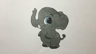 Drawing and coloring a Baby Elephant - Dibujando y coloreando a un Elefante Bebé