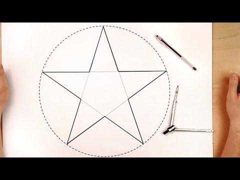 Как начертить пятиконечную звезду, how to draw five pointed star