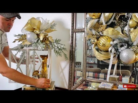 Decorating A Lantern For Christmas With A GLAM Funky Bow And Swag (How To) / Dollar Tree DIY