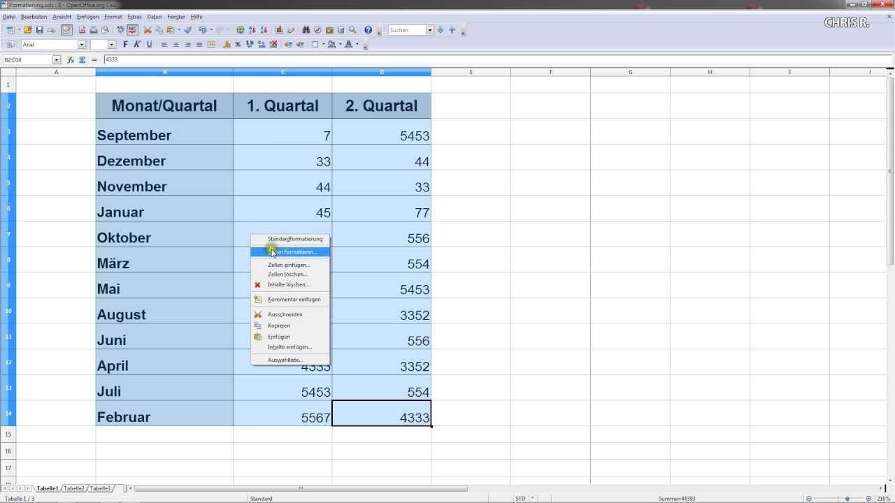 tabelle mit rahmen hintergrundfarbe und mehr erstellen ForTabelle Open Office