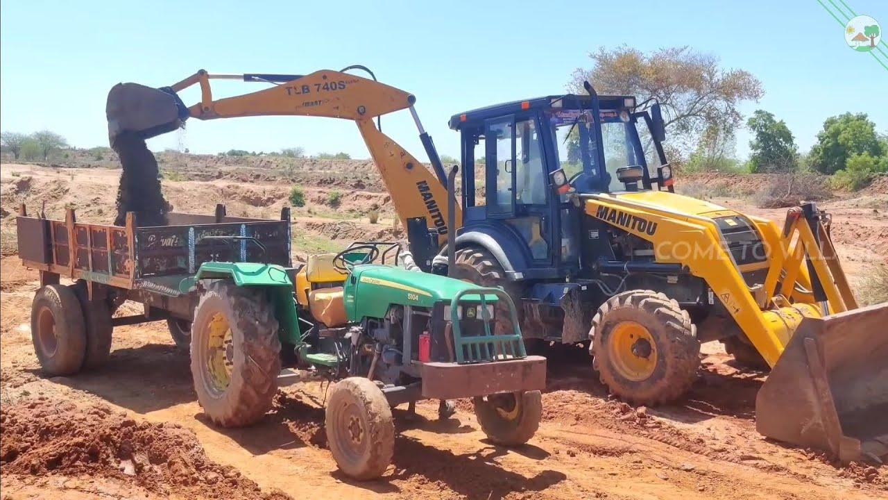 Manitou Backhoe loader vs John Deere 5104 Tractor | Come to Village
