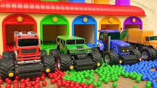 Monster Truck Street Vehicles Giant Tyre with KingKong Garage Balls Learn Colors Plays for Kids