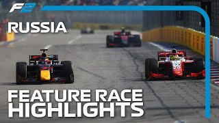 F2 Feature Race Highlights | 2020 Russian Grand Prix