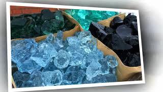 Bryły i grysy szklane Garden Grit, dekoracyjne szkło ogrodowe, glass stones, kosze gabionowe