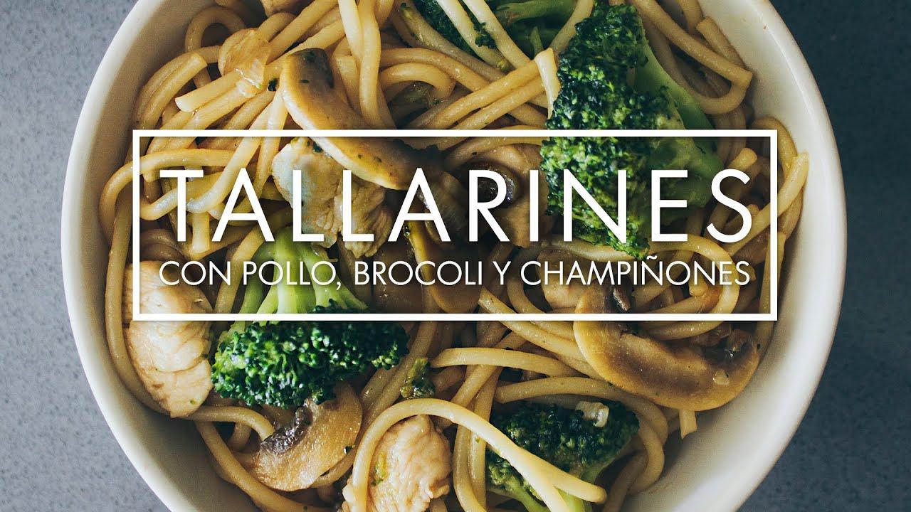 Tallarines con pollo br coli y champi ones eynin24 - Espaguetis con gambas y champinones ...