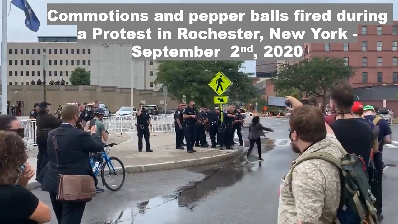 Commotions and pepper balls fired during a Protest in Rochester, New York - Sep 2nd, 2020