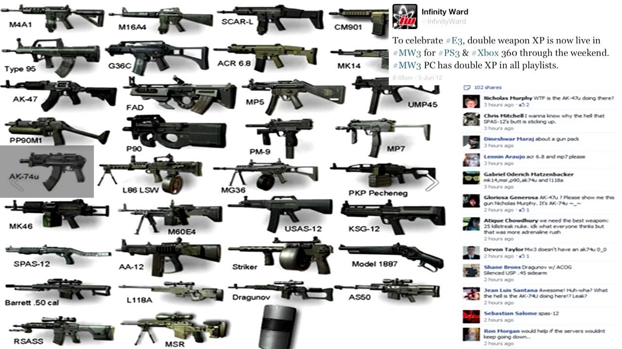 New! MW3 Weapon DLC Update AK-74u! + Double Weapon XP