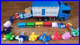 장난감 트럭안에 타요, 폴리, 슈퍼윙스, 로봇트레인 장…