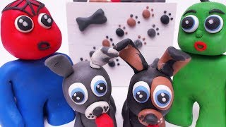 SUPERHEROES BABIES WANT NEW PUPPIES - Play Doh & Clay Cartoons Stop Motions