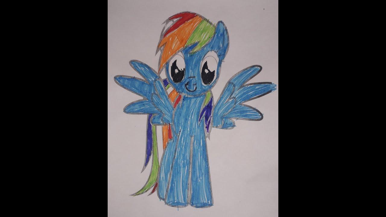 Как раскрасить раскраску с Радугой Дэш из Май литл пони ...