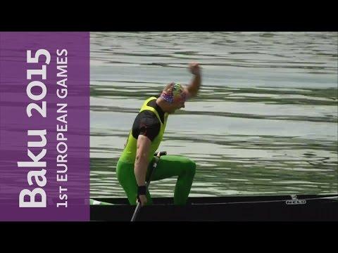 Henrikas Zustautas in a terrific photo finish in the Men's C1 200m | Canoe Sprint | Baku 2015