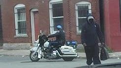 Al's Locksmith and WPD Motorcycle patrolman. 700 Block of Main St. Worcester, Ma. USA