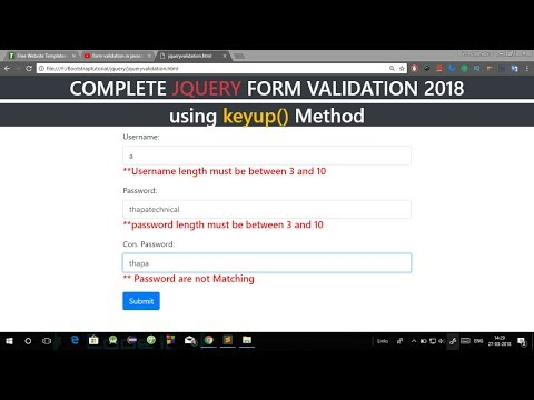 Form Validation in jQuery in Hindi | Registration Form Validation Using  jQuery in Hindi