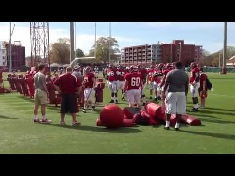 Alabama defensive line works on drills during spring practice 2014.  (Crimson Confidential)