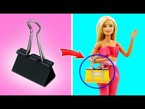 DIY BARBIE HACKS AND CRAFTS: Miniature Barbie Handbags Really Work ~6 Easy Different Styles