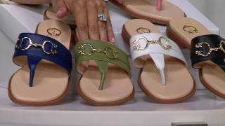 C. Wonder Leather Thong Sandals with Hardware Detail - Annabelle on QVC