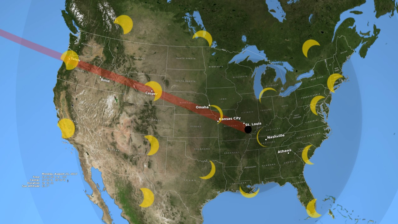 2017 Eclipse Usa Map.2017 Total Solar Eclipse S Path Across The U S Youtube