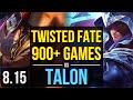 TWISTED FATE vs TALON (MID) ~ 900+ games, KDA 9/2/14 ~ Korea Master ~ Patch 8.15