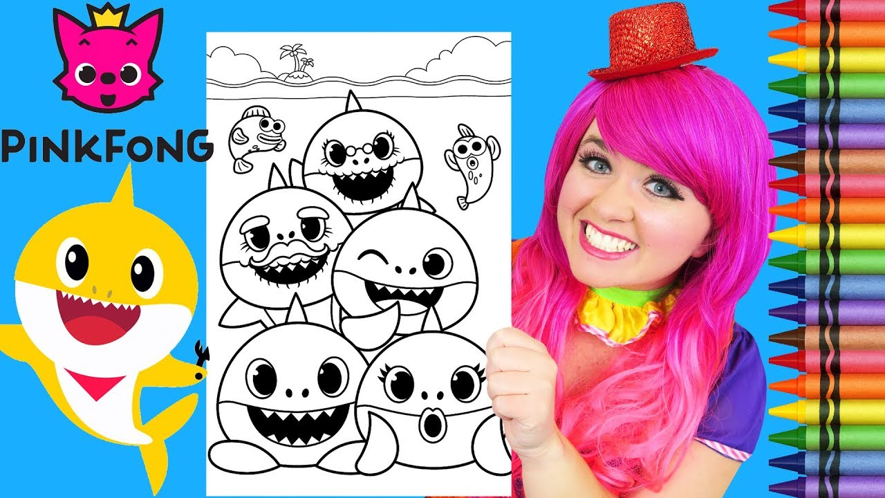 Coloring Baby Shark Family Giant Pinkfong Coloring Page Crayola Crayons Kimmi The Clown Youtube