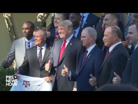 WATCH: President Trump hosts NCAA championship teams at Whit