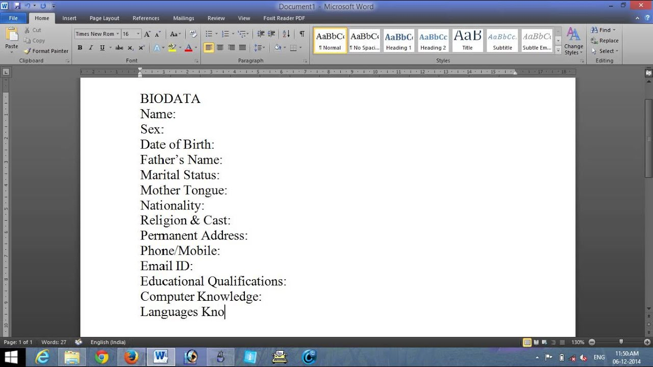 how to create a biodata using ms word