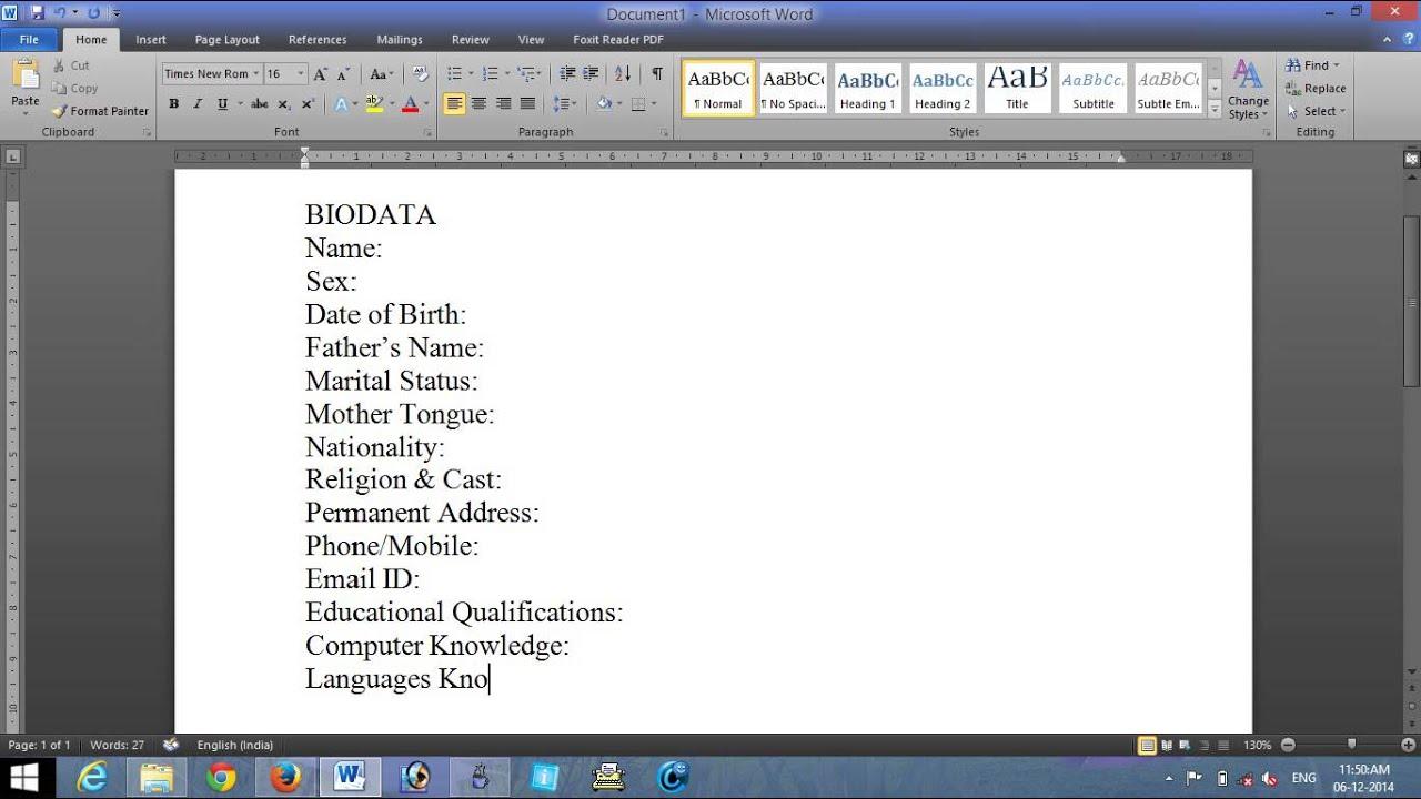 make a biodata for job