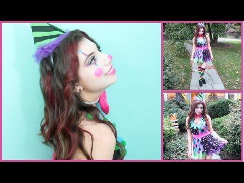 cute clown halloween tutorial makeup hair  costume