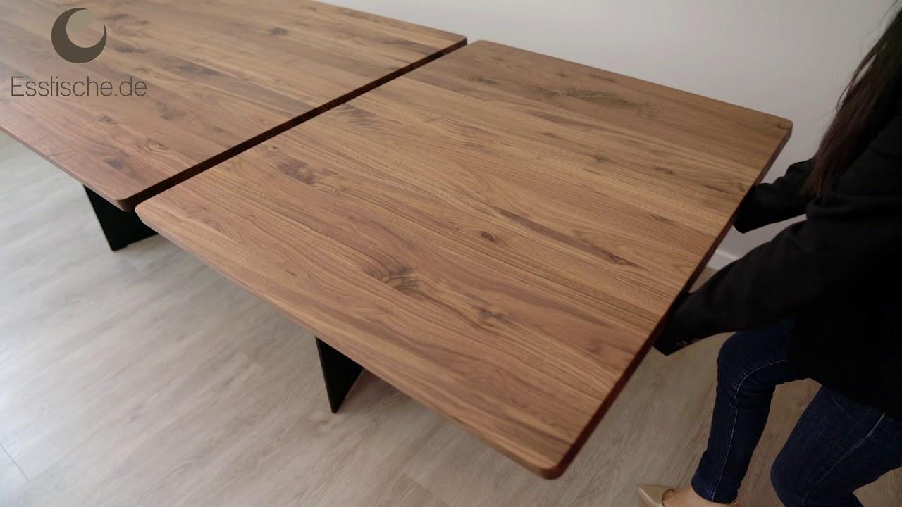 Esstisch Metallwangen Holz Mit Synchronauszug   Marino