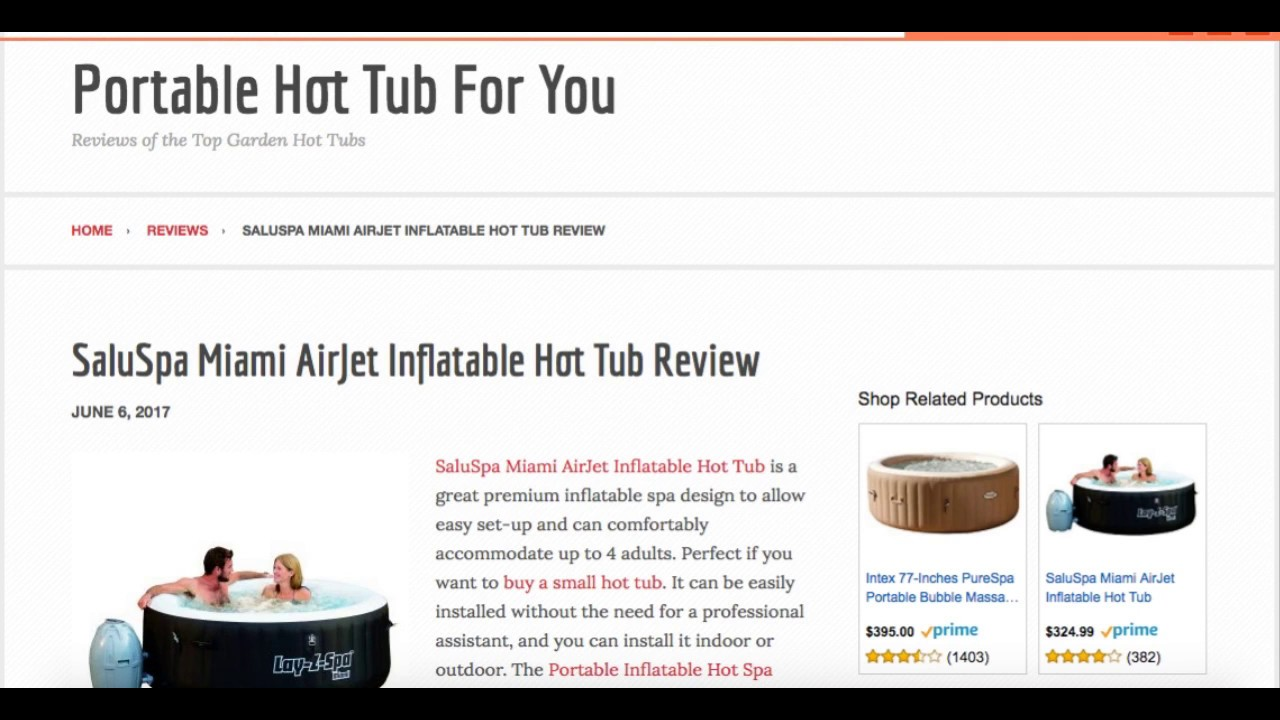 SaluSpa Miami AirJet Inflatable Hot Tub Review - YouTube
