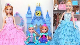 💙BARBIE SCHOOL MORNING ROUTINE💙SISTERS ELSA ANNA TODDLERS💙PRINCESS BEDROOM DRESSES DOLLHOUSE