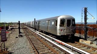 New York City Subway HD: R46 A and S Trains at Newly Rebuilt Broad Channel Station (Post Sandy)