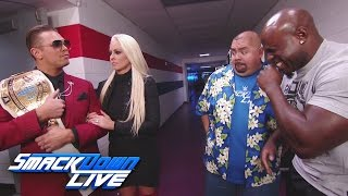 Gabriel Iglesias and Apollo Crews have a laugh at The Miz
