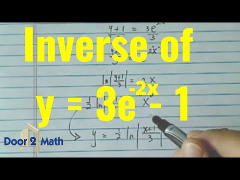 Inverse Function fx3e2x1 find f1x  YouTube