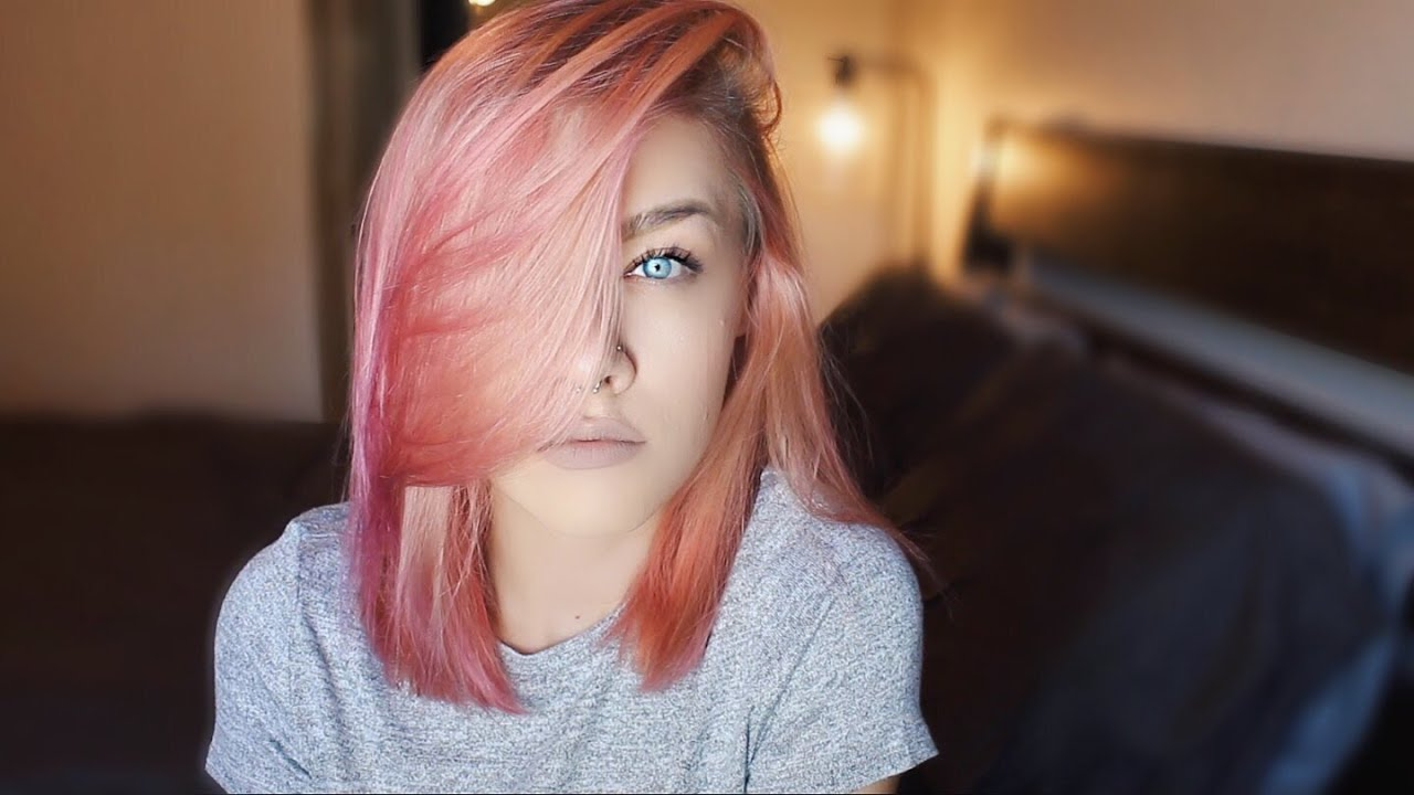 raspberry/rose gold hair - youtube